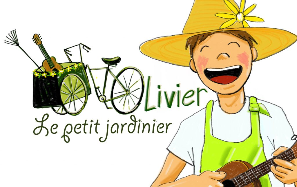 Logo du spectacle musical de rue jeune public Olivier le petit jardinier, dessin de Thomas Fieffé
