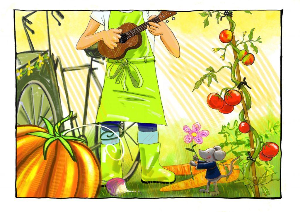 Bandeau du spectacle musical de rue jeune public Olivier le petit jardinier, dessin de Thomas Fieffé